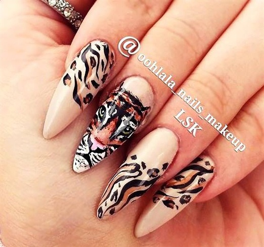 Hand painted TIGER NAILS - Hand Painted TIGER NAILS - Nail Art Gallery