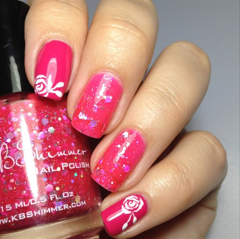 Pink Rose Nail Art