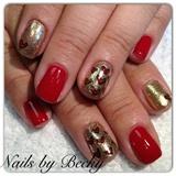 Valentines day glitter manicure