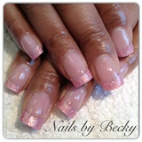 Pink glitter French