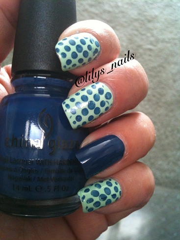 Mint Green And Blue Polka Dots