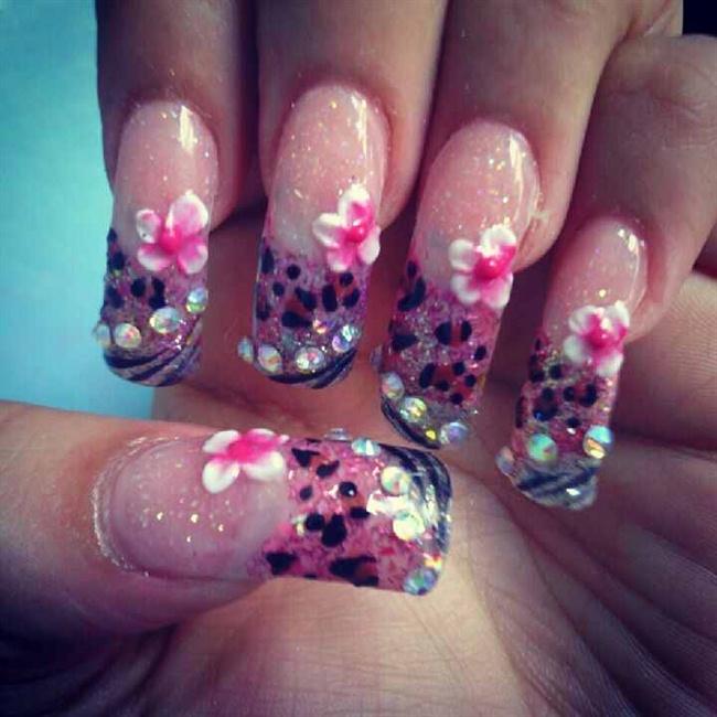 Pink Silver Acrylic Nails Nail Art Gallery