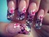 Pink & silver Acrylic Nails.