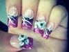 my nails :) black w pink glitter fading