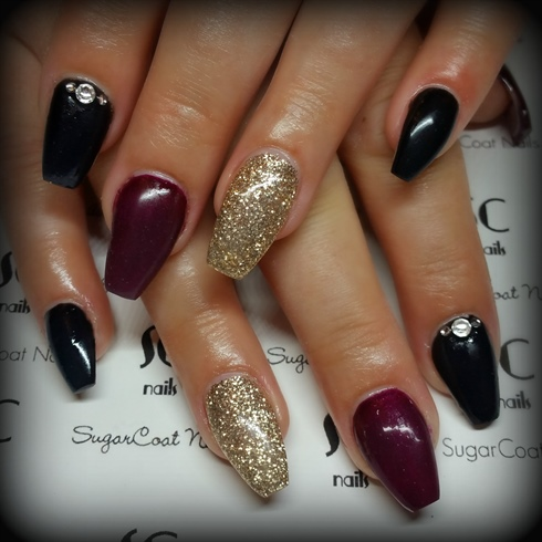 Burgundy, Gold and Black Coffin Nails