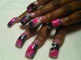 hot pink blk wht swirls