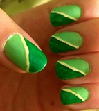 Green Stripe Nails