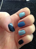 denim nails with bling