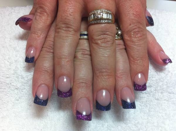 Purple & Pink Glitter Tips