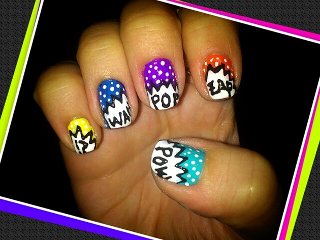Pop art nails nail art gallery pop art nails prinsesfo Choice Image