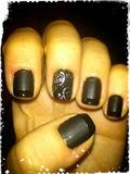 Black Matte & Silver Roses Nail Art