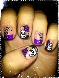 Skull Roses & Leopard Nail Art