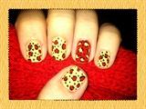 Cherry & Vanilla Leopard Nail Art