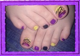 Neon Zebra Toes Nail Art