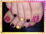 Acid Leopard Toes 2 Nail Art