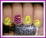 Leopard,Neon & Confetti Nail Art