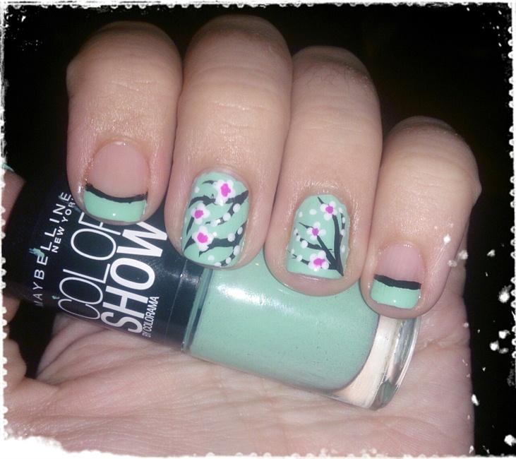 French & Cherry Blossom Nail Art