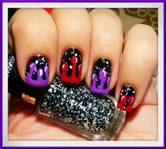 Dripping & Confetti Nail Art