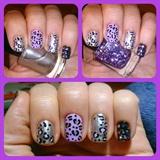 Lilac & Silver Leopard Nail Art