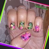 Neon Splatter Nail Art