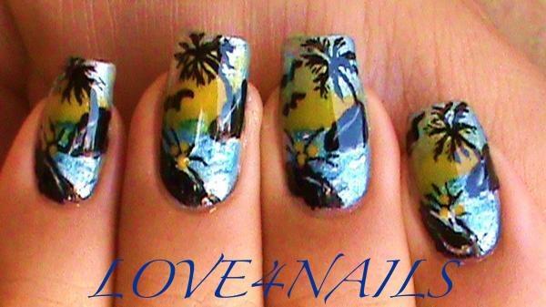 Tropical island beach nail art design nail art gallery tropical island beach nail art design prinsesfo Gallery