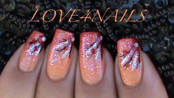Peach Glitter Nail Design Nail Art Gallery