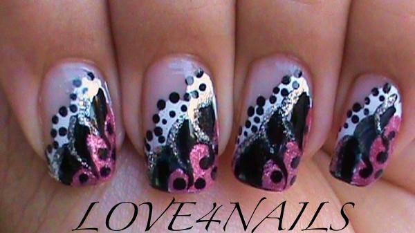 Nail Art Gallery - PINK BLACK & WHITE DOTS & SWIRLS