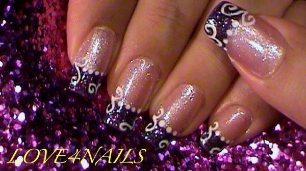 Purple Glitter White Swirls Nail Art Gallery