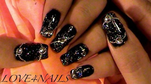 Black Silver Beads Glitter Nail Art Gallery