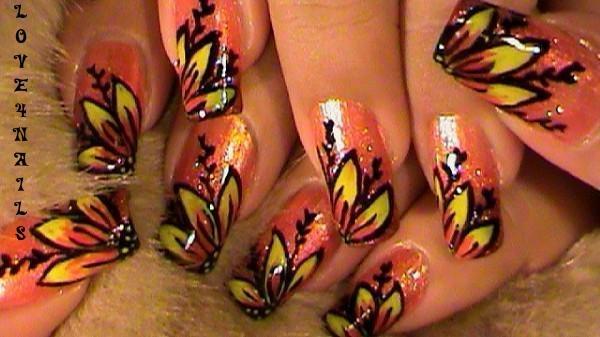 Peach Flower Nail Design Nail Art Gallery