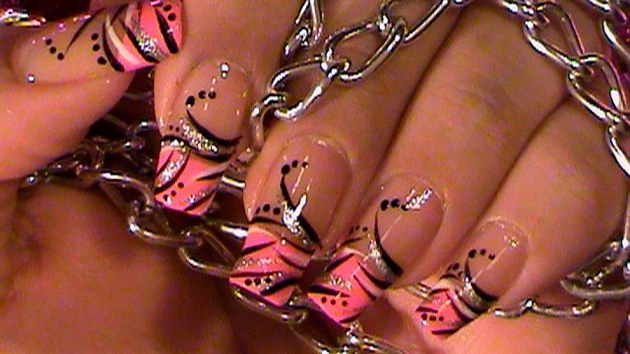 Pink french manicure black stripes