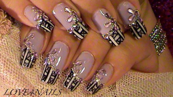 Pattern Nail Design Lilac Black White Nail Art Gallery