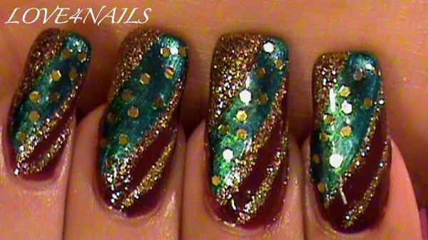 Gold Green & Burgundy Nail Art Design