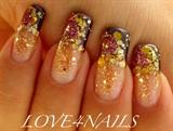 Gold Nuggets Nail Art