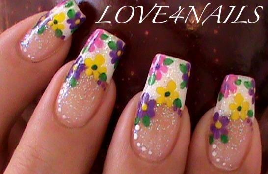 Spring Time Flowers Nail Art Design
