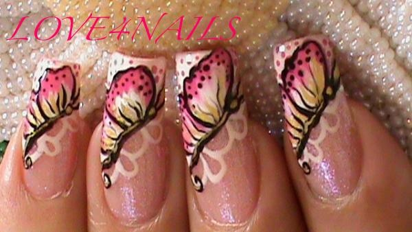 One Stroke Butterfly Nail Art Design