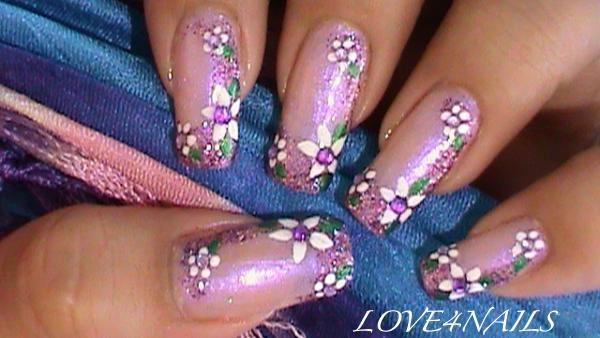 Purple Glitter White Flowers Nail Design