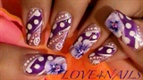Dots & Purple Flowers Nail Art Design