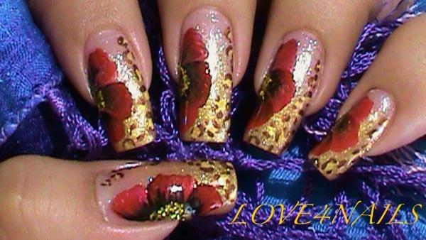 Golden Leopard ~ Red One Stroke Flower