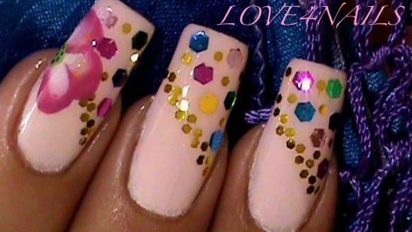 Big Small Glitters Nail Design