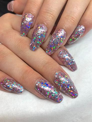 Lecenté Chunky Glitter Pink Nails