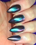 Multi colour chrome nails