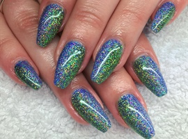 Green and Blue Ocean glitter nails