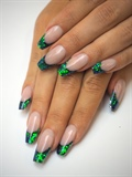 Pisces Green Glitter Tips