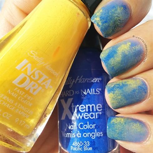 Blue & Yellow Sponge Art