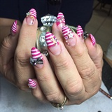 Pink almond shape nails
