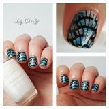 nail art stamping bleu