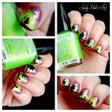 Nail art stamping aurores boreales