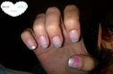 matte silver french & pink stripes