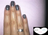 silver nailpolish & black shatter